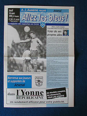 Auxerre v Arsenal - Cup Winners Cup Quarter Final 2nd Leg Programme - 16/3/95