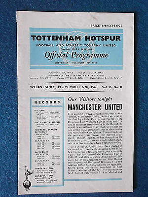 Tottenham Hotspur v Manchester United 27/11/63 Cup Winners Cup Programme.