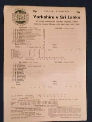 Yorkshire v Sri Lanka July 1991 Scorecard. Played at Headingley.