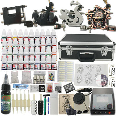 Complet Tattoo Kit de Tatouage Rotary Machine Gun à Tatouer 40 Ink Large Case