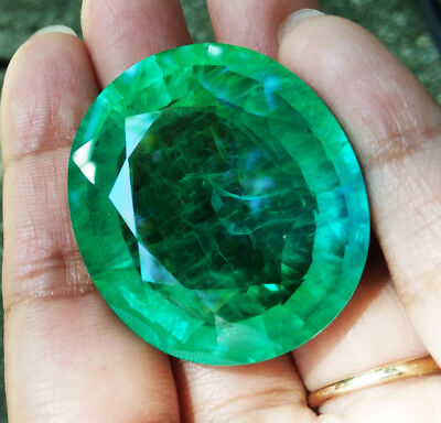 BIG! 150.40cts. 35x30mm. Oval Lab Chathum Colombian Green Emerald Excellent Cut