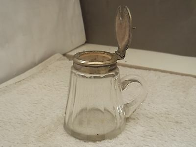 Glass Mustard Pot With A Handle  Paneled  Side  Epns Top And Lid  No Maker