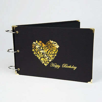 Happy Birthday Guestbook, Photo Album with Gold Heart. Photo Booths