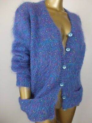 Vintage RETRO MOHAIR FLUFFY CARDIGAN Knit Jumper Sweater Top S M L