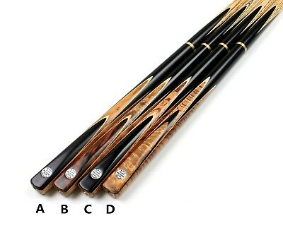 3/4 Snooker Pool Cue Handmade Ebony Maple Burr Zebrano Butt Cues and Case Ext.