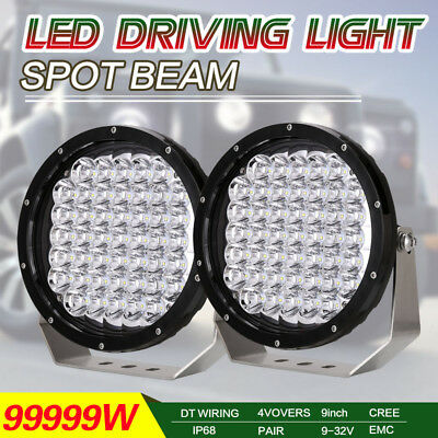 99999W 9inch LED Cree Red Driving Lights Round Spotlights Offroad 4x4 HID SUV