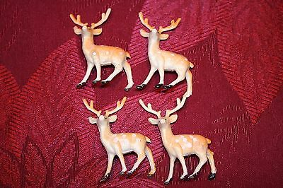 "Lot of 4-2""  Plastic Reindeer Christmas"