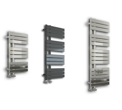 Designer Offset Flat Panel Heated Towel Rail Radiator Bathroom Chrome / Grey