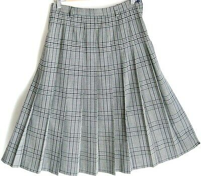 Vintage Sportscraft Navy Blue White Checked Pleated Skirt S