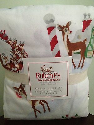 Pottery Barn Kids Flannel Rudolph the Red-Nosed Reindeer Twin Sheet Set NWT 3 pc