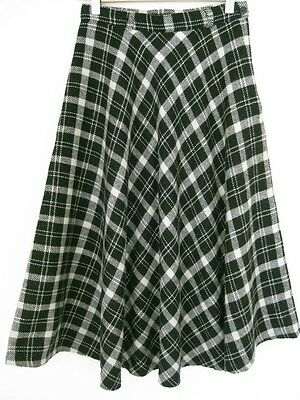 Vintage Black & White Checked Wool Blend Skirt XS