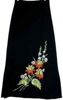 Vintage 1960s Black Orange Yellow Green Blue Embroidered Flowers Maxi Skirt M