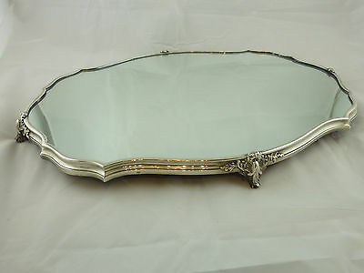 Large French sterling silver mirrored plateau