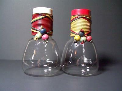 Pyrex 2 Pc. Carafe w/ Lids & Corks for Weico Wrapped & Beads 1950s 1960s