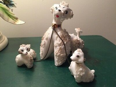 Vintage Spaghetti Poodle Mom with 2 Pups on Chain Made In Japan