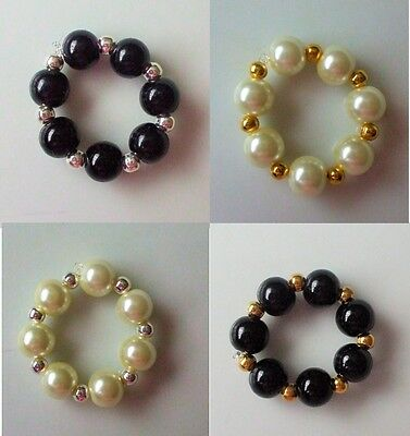 Scarf Ring Toggle (Slim) Pearl Black Cream Gold Silver Round Beads + Gift Bag