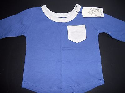 Boys Cotton On long sleeve blue tee with grey marle trim  size 00