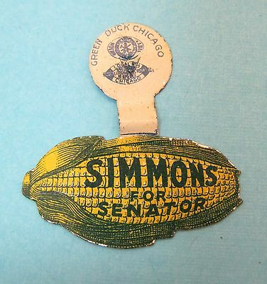 Vintage Tin Simmon For Senator Corn Shaped Pin Badge Green Duck Chicago T48