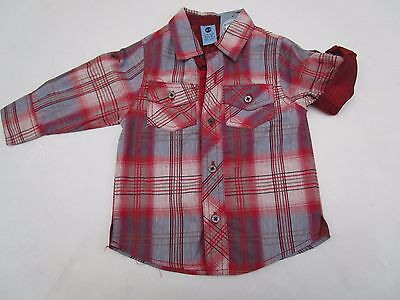 Boys Pumpkin Patch  check long sleeve shirt   with roll up sleeves Size 1