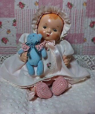 "Vintage Antique Composition 12"" Baby Doll Patsy Baby lookalike"