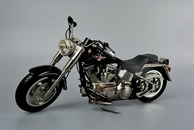 Large 1/10 Scale Harley Fat Boy 2002 Motorbike, Very Detailed Features, Black