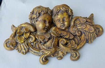 Vintage Baroque Style Gilt CHERUBS Angels Putti Italian Wall Hanging Italy Gold