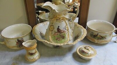 Antique Victorian Wash Bowl & Jug - 2 x Potties, toothbrush & soap holders