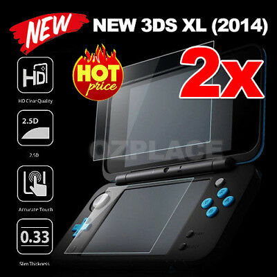 2X 9H Tempered Glass Clear Screen Protector For New Nintendo 3DS XL Anti-Scratch