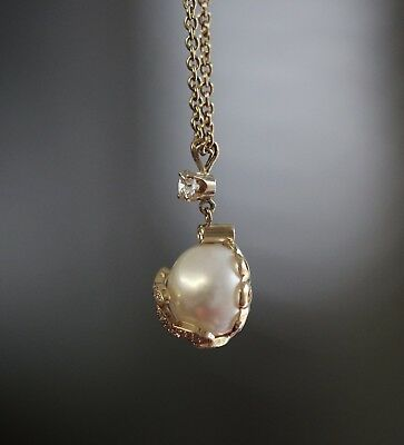 18K Yellow Gold Ladies Fancy Diamond and Pearl Pendant with 18 Inches Long Chain