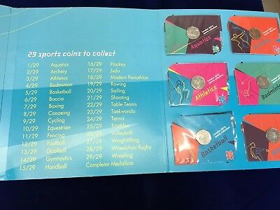 LONDON 2012 OLYMPIC 50p ALBUM FULL SET WITH COMPLETER MEDALLION ALL SEALED COINS