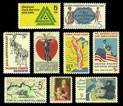 US #1314a to 1322a Tagged Varieties VF NH MNH