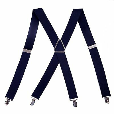 "Mens Big and Tall X-Back Clip Suspenders 1.5"" Wide Adjustable 55"" Long Nav"