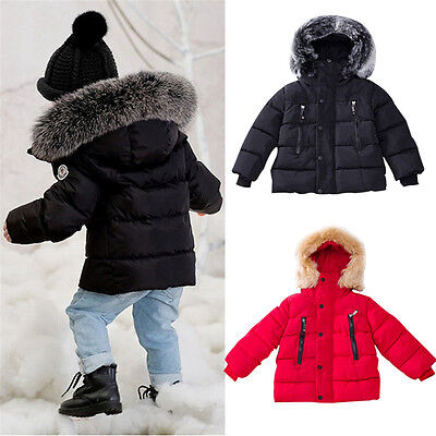 UK Newborn Toddler Baby Girls Boys Winter Warm Outerwear Hooded Coat Down Jacket