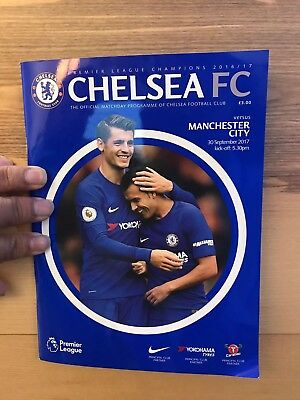 Chelsea vs Manchester city with team sheet matchday unread programme 30/09/2017