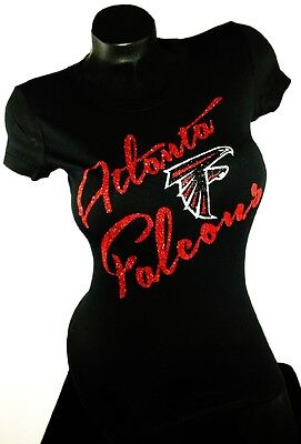 Atlanta Falcons Black Fitted Spandex Tee with Shiny Lettering. Team Spirit Tee!