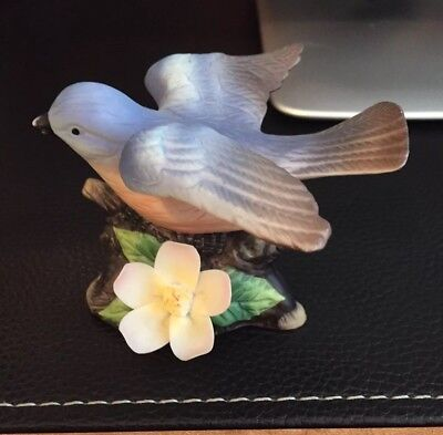 Small Eastern Bluebird Porcelain Figurine With Open Wings On Branch With Flower