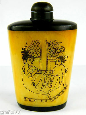 Bone & Faux Horn Snuff Bottle,Hand Engraved Ancient People Painting