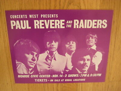 FILLMORE POSTER era Paul Revere and the Raiders 1969 handbill