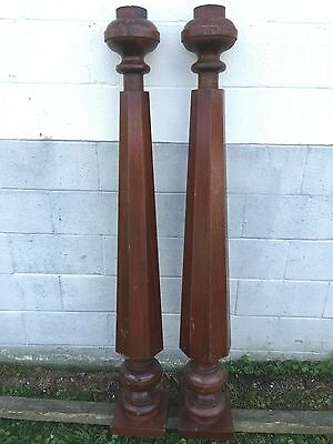 "2 Antique 61"" Interior 8 Sided Tapered Cherry Mahogany Wood Columns Pillar Posts"