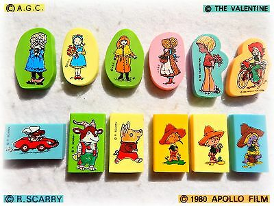 Vintage collezione GOMMINE ERASER Holly Hobbie Sarah Kay Richard Scarry Lee Boy