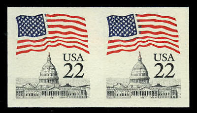 US #2115g 22¢ Flag, narrow block tagging, Imperf Imperforate Pair, VF NH MNH