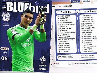 Cardiff City v Derby County 17/18 + Official Colour Team Sheet