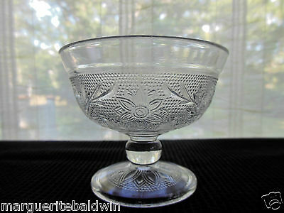Anchor Hocking Glass Clear Crystal Sandwich Sherbet Footed Dessert Cup
