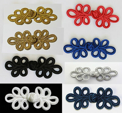 Hand Stitches Frog Fasteners Button Knots   Gold, Silver, Black, Red ,Navy  #6