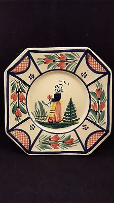 HB Quimper Ceramic Bread Plate, Henriot Quimper France French  R.2 303