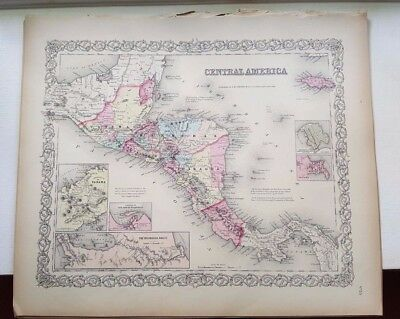 VERY NICE 1856 Colored Map - CENTRAL AMERICA - Colton's Atlas