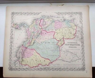 VERY NICE 1856 Colored Map - VENEZUELA, NEW GRANADA & ECUADOR - Colton's Atlas