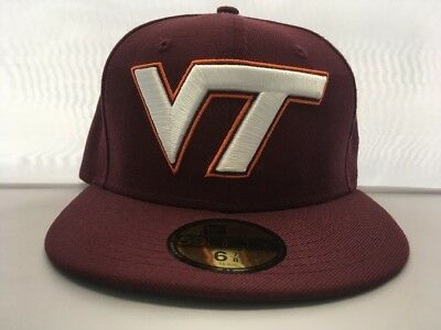 NEW New Era 59Fifty Virginia Tech Hokies Fitted Hat Cap 6 7 8 1 ... 8709fef91e20