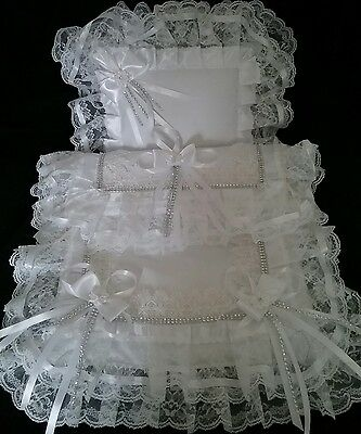 Stunning All white diamante  Dolls s/cross hard body pram set