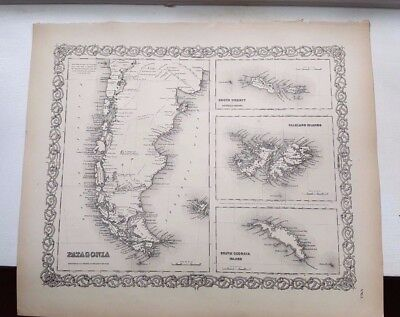 1856 Map - PATAGONIA, SOUTH ORKNEY FALKLAND ISLANDS & SOUTH GEORGIA ISLAND